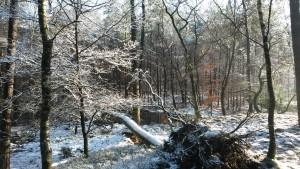 beek overstroming in de winter